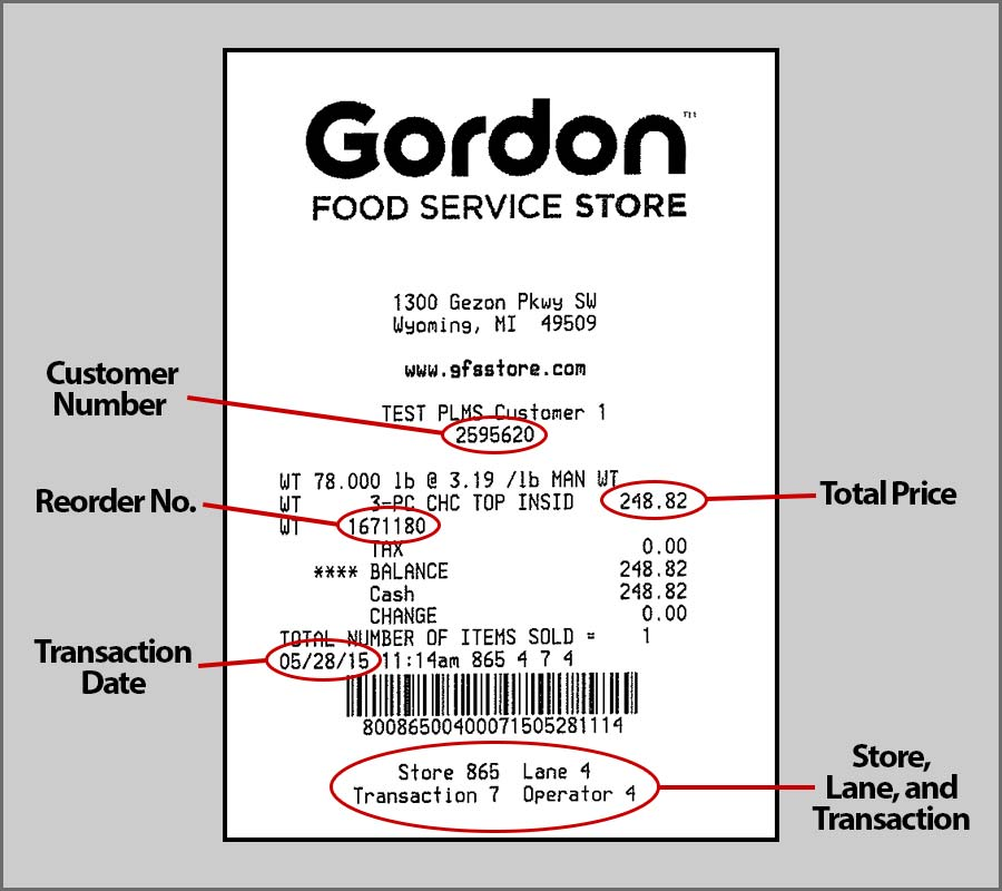 Gordon Food Service Store Receipt