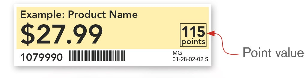 Point values are marked on shelf tags