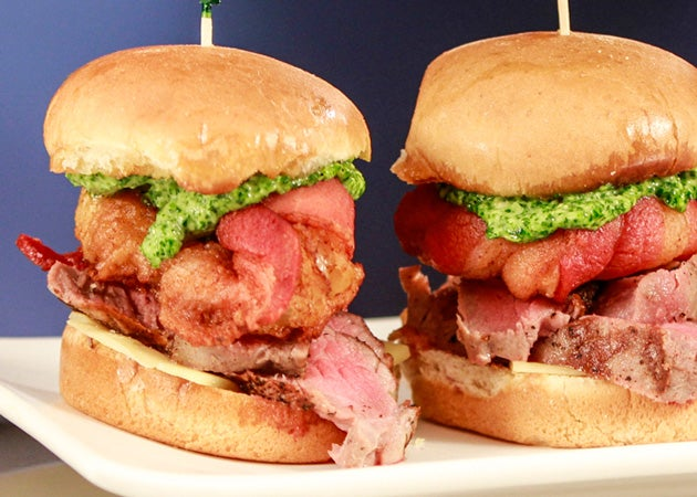 Sirloin Steak Sliders with Bacon-Wrapped Onion Rings and Chimichurri Mayo