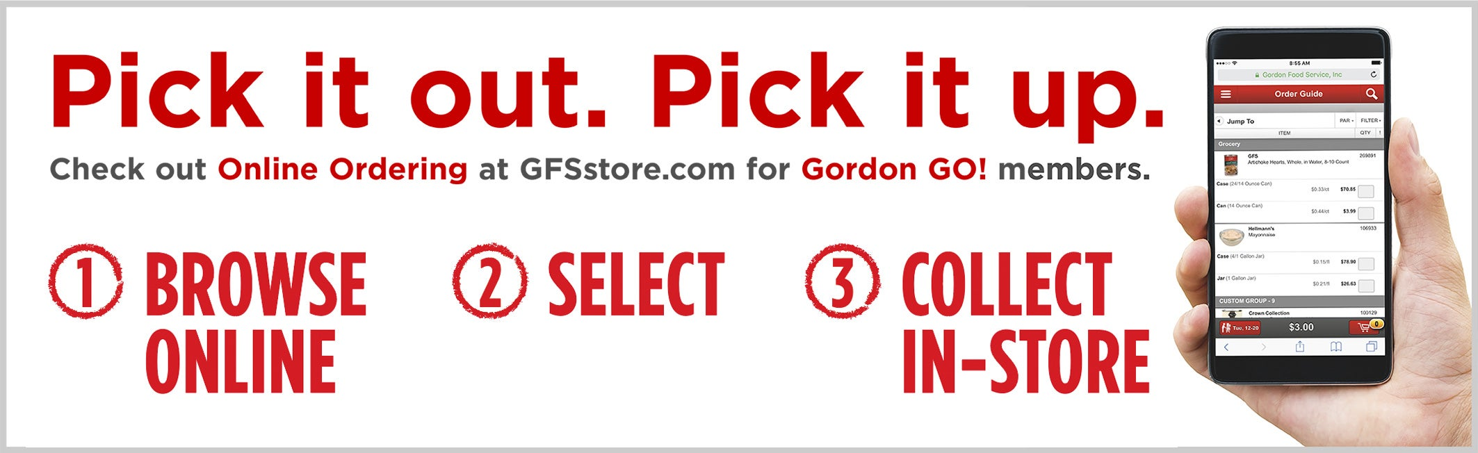 Pick it out. Pick it up. Check out Online Ordering for Gordon GO! members.