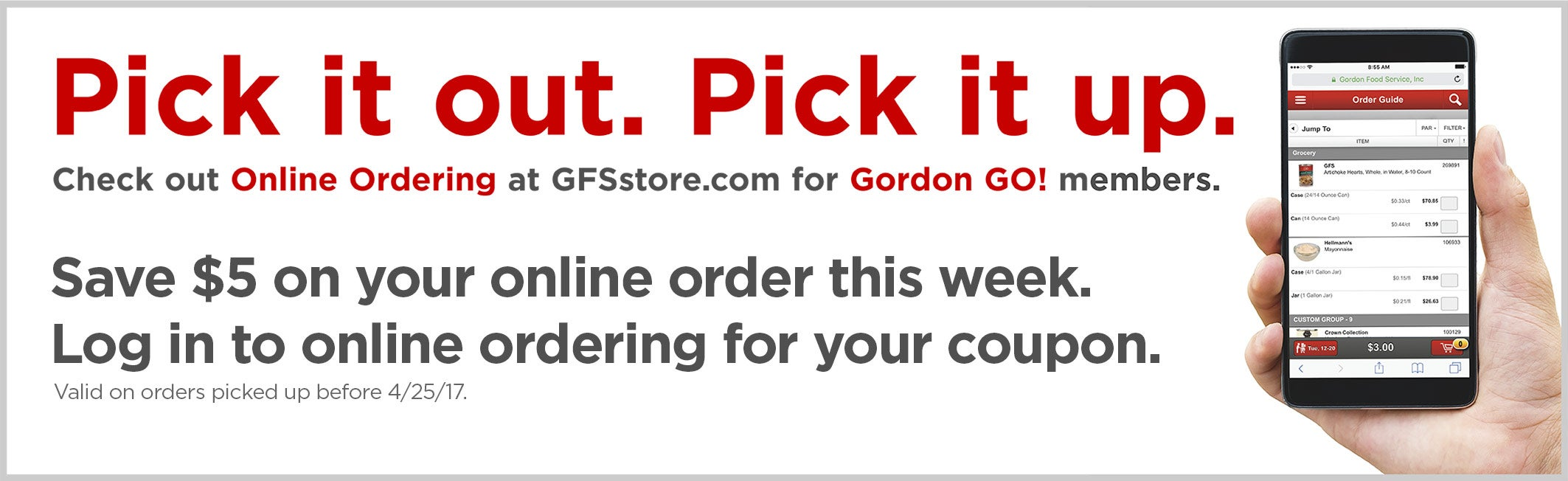Save $5 on your online order this week. Log in to online ordering for your coupon.