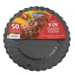 "Heavyweight Plastic Plates - 9"" Black"