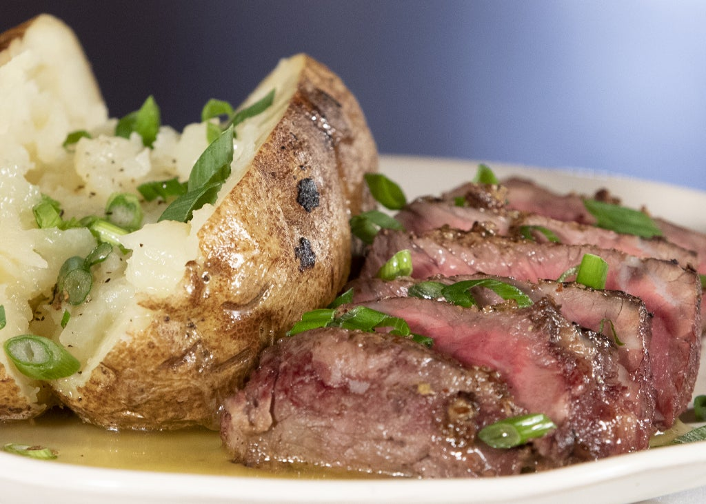 HERB & MUSTARD SIRLOIN WITH BAKED POTATOES